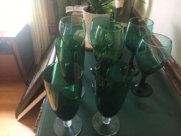 Wine glasses (8) assorted green glass