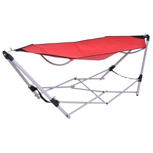 Red Portable Folding Hammock Lounge Camping Bed Steel Frame Stand W/Carry Bag for Sale in Addison, TX