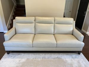 Living Space Kathleen Cream Leather Sofa for Sale in Rancho Palos Verdes, CA