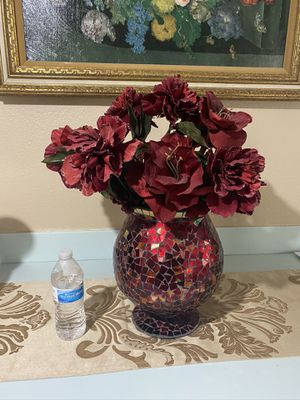 big red vase with flowers for Sale in New Port Richey, FL