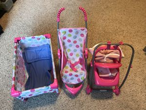 Girl crib, stroller and swing toy set with a doll. for Sale in Portland, OR