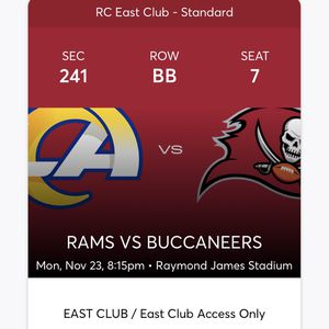 6 Tickets For Monday night Football TB Vs LA for Sale in Land O Lakes, FL