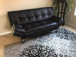Beautiful brand new black leather sofa futon for Sale in Oceanside, CA