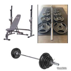 """Full Home Gym - Bench Squat 300 LB Olympic 2"""" Barbell Weight Set for Sale in Plano,  TX"""