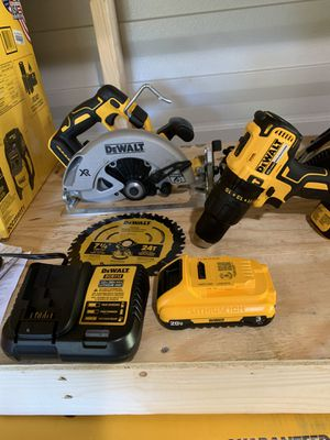 Brand new dewalt brushless 7-1/2 circular saw and hammer drill 1 battery and charger not negotiable for Sale in Plant City, FL