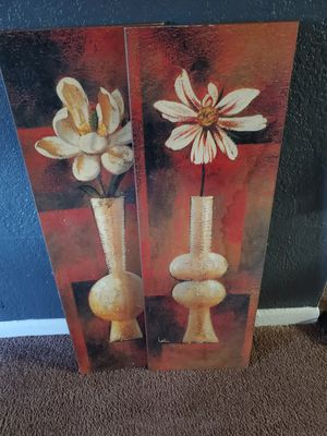 2 flower paintings for $20 for 2 for Sale in Tampa, FL