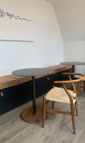 Custom made circle table, iron top with wood bottom for Sale in Boston, MA