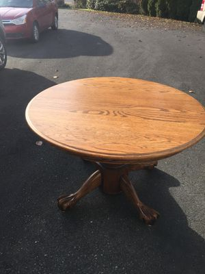 Solid oak dining table seats up to at least 10. 3 leaves for Sale in Marysville, WA