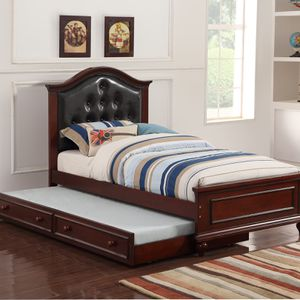 Solid Wood Twin Bed Frame W/ Trundle 🎈 Black Friday Special 🎈 for Sale in Fresno, CA