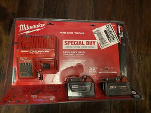 Milwaukee M18 2 batteries and charger for Sale in Los Angeles, CA