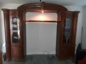 "AICO Amini Inoovations Corp. (GL Pecan ""Monte Carlo"") left and right audio cabinet piers w/ light bridge and shelf for Sale in Winter Springs, FL"