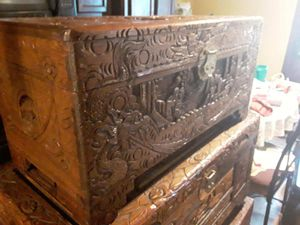 Nice rare antique hand carved Japanese wooden trunk found a storage unit amazing details ask her 700 or best offer for Sale in Houston, TX