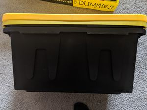 HOMZ Tough Durabilt Tote Box, 27 Gallon, Stackable, 2-Pack, Set of 2, Black and Yellow for Sale in Bladensburg, MD