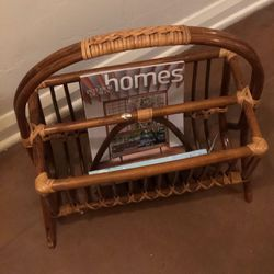 Vintage BOHO Rattan Wicker Bamboo Braided Retired Pier One Magazine/Book/Record Holder In GREAT Condition! for Sale in Phoenix, AZ