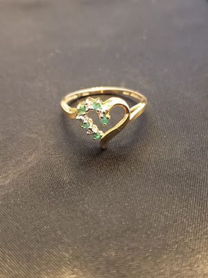 10k Gold Ring Heart Shaped with Diamonds and Emeralds for Sale in El Cajon, CA