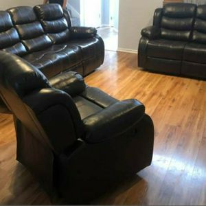 Black Reclining Leather 3 Piece Sofa Set for Sale in Atlanta, GA