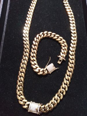 Black Friday Sale!! 14kt Gold Filled Cuban chain and Bracelet set!! All sizes available!! Best Top Quality!! Custom Work Available!! for Sale in Little Rock, AR
