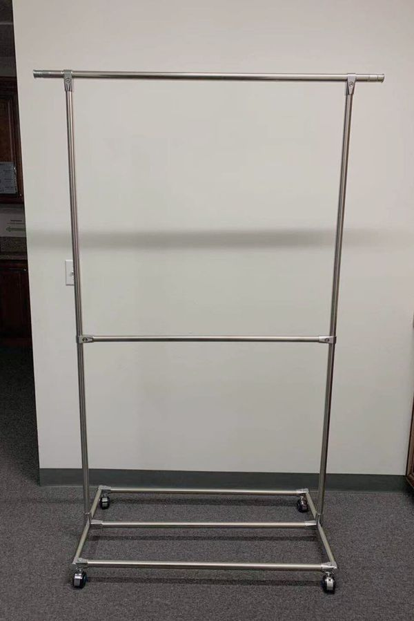 New in box 75x20x70 inches tall stainless steel garment rack clothing organizer 77 lbs weight capacity with locking wheel