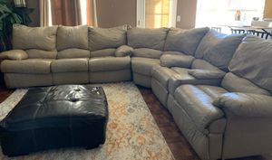 Tan Leather sectional/sleeper with Double Recliner for Sale in Marietta, GA