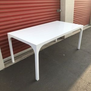 CB2 Long Aqua Virgo dining table high gloss white modern white table long crate and barrel for Sale in Chino, CA