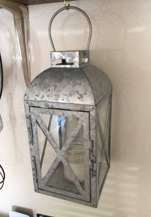 Zinc lantern with candle for Sale in Ruston, LA