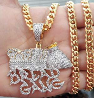 14k gold finish icedout BREAD GANG pendant with Cuban Link Chain for Sale in Los Angeles, CA