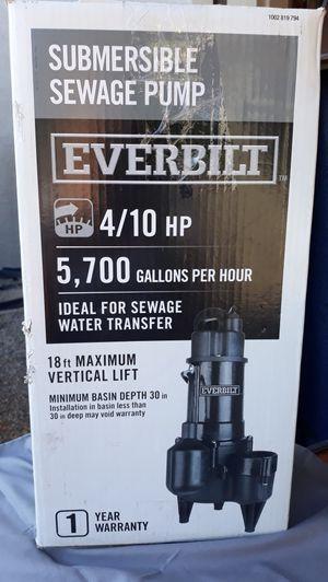 Everbilt 4/10 HP Submersible Sewage Pump for Sale in Glendale, AZ