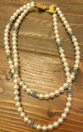 Faux Pearl and Blue Bead Necklace for Sale in Westminster, CO