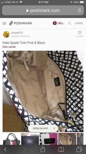 """Kate Spade New York Pink & White Strip with Black Fabric Satchel 15""""L x 6""""W x 9""""H In great condition!Authentic!! for Sale in El Monte, CA"""