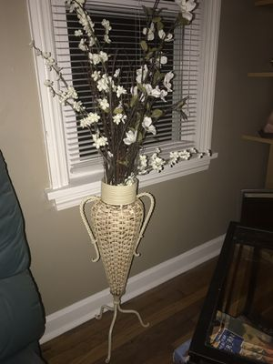 Beige vase with flowers for Sale in Cleveland, OH
