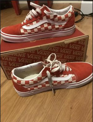 Vans Men's US 8 Primary Check Old Skool Racing Red/Off White for Sale in Lafayette, LA