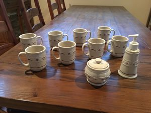 Longaberger Mug Set , w/ sugar bowl and soap dispenser for Sale in Snohomish, WA