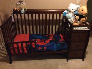 Expresso crib/toddler bed/full size bed with attached changing table. for Sale in Temple Hills, MD