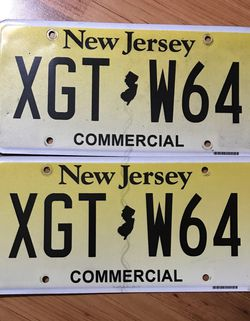 Expired New Jersey Commercial License Plate Pair for Sale in Shinnston,  WV