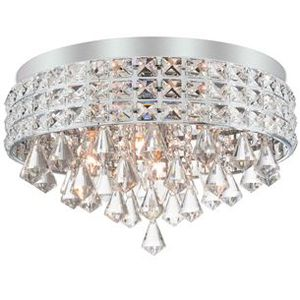 """Kira Home Gemma 15"""" Modern Chic 4-Light Flush Mount Crystal Chandelier + Round Metal Shade, Dimmable, Brushed Nickel Finish for Sale in Montclair, CA"""