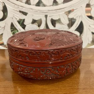 Faux Cinnabar Box with Floral Motif for Sale in Forney, TX