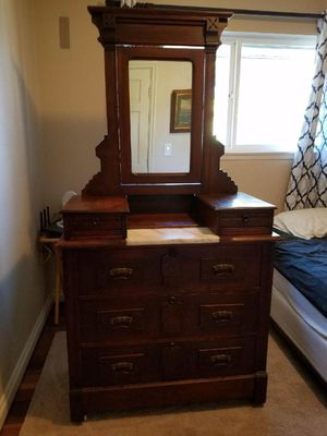 Antique marble top dresser with tilt mirror, late 1800s for Sale in Tacoma, WA
