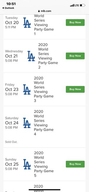 Dodgers World Series parking lot view ticket 10/24 sold out game for Sale in Baldwin Park, CA