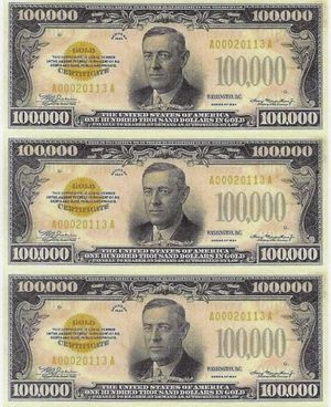 Three $100,000 1934 Dollar Bills- Gold Certificates- Very Interesting! for Sale in Herndon, VA