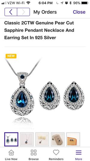 Brand new sterling silver sapphire pendant necklace and earrings set for Sale in Reston, VA