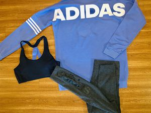 Women's Adidas Oversized Sweatband Shirt with matching Leggings and Sports Bra for Sale in Amory, MS