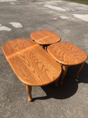 Oak coffee table and end tables for Sale in Rainier, WA