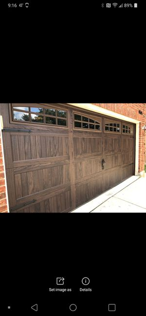 2 car steel insulated garage door INSTALLED new tracks and hardware windows additional by Ohio's best rated company over 600 reviews! for Sale in North Royalton, OH