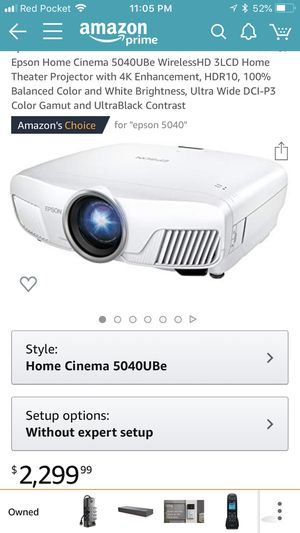 Epson Home Cinema 5040UBe WirelessHD 3LCD Home Theater Projector with 4K Enhancement, HDR10 for Sale in Santa Clara, CA