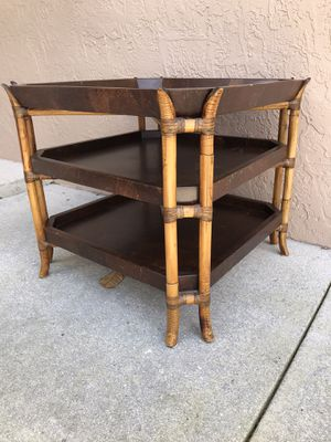 Side end coffee table 3 tiers shelves microwave stand 25.5x25.5 height 22.5 for Sale in Davie, FL