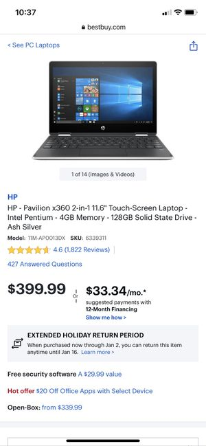 HP Pavilion Convertable 11.6 Inch Laptop for Sale in Redlands, CA