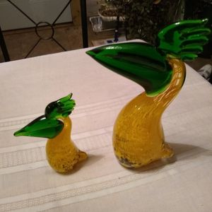 Glass Blown Pelicans Yellow And Green for Sale in Greenbrier, AR