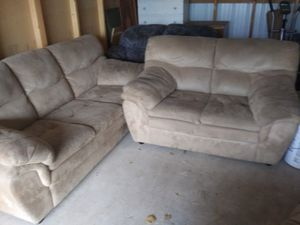 Light suede couch and loveseat for Sale in Prineville, OR