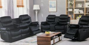 Reclining leather sofa loveseat and chair for Sale in Elgin, IL