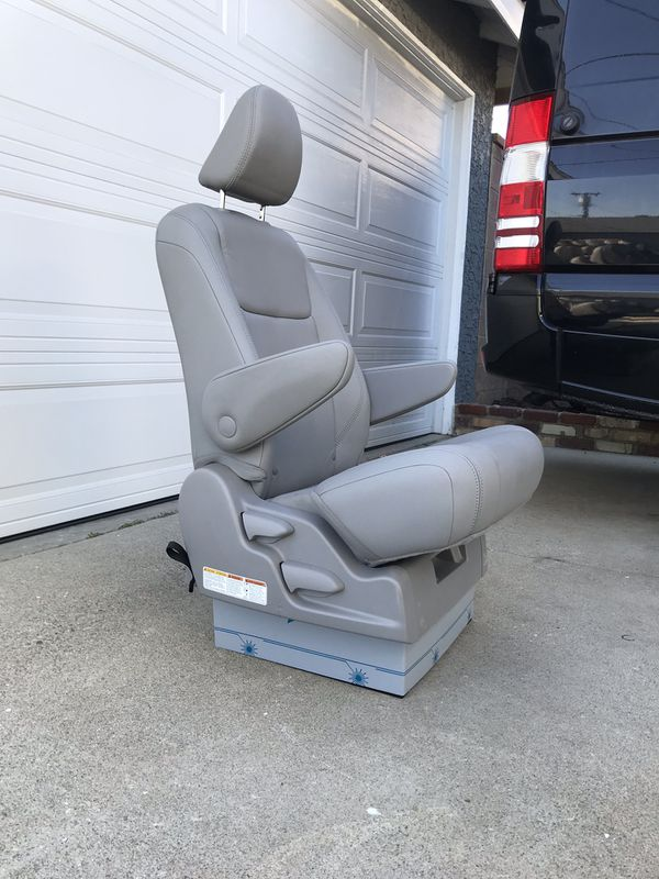 Gray leather reclining captain seat for shuttle bus, sprinter van conversion, RV motorhome etc